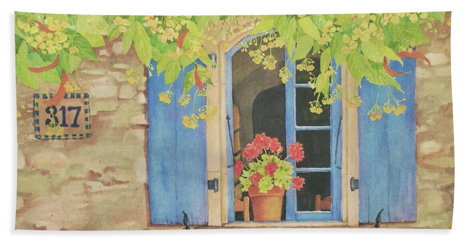 France Bath Towel featuring the painting Vacation Memory by Mary Ellen Mueller Legault