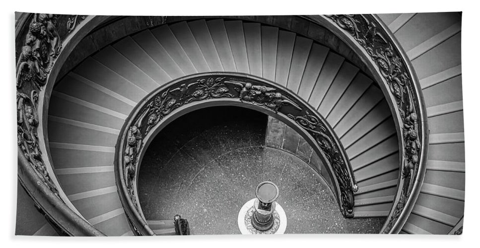 3scape Bath Towel featuring the photograph Vatican Stairs by Adam Romanowicz