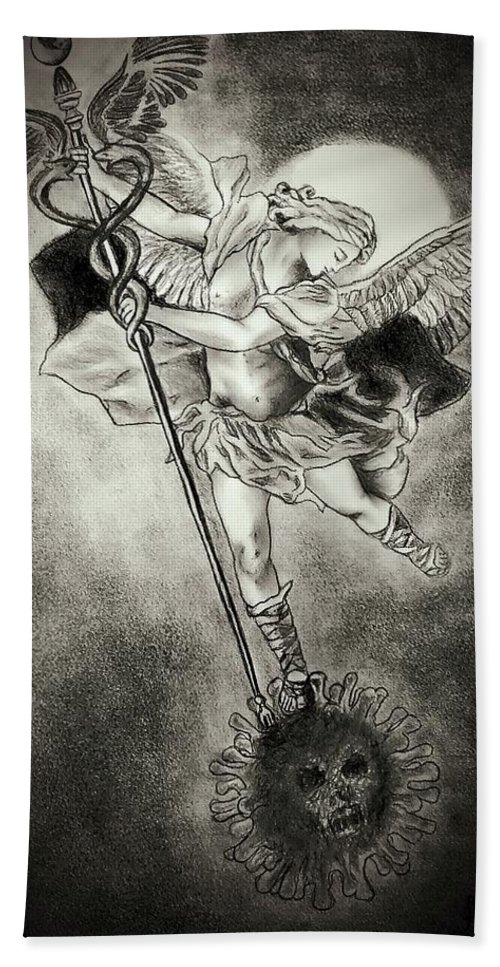 St Michael Bath Towel featuring the drawing Victory by Glory Fraulein Wolfe