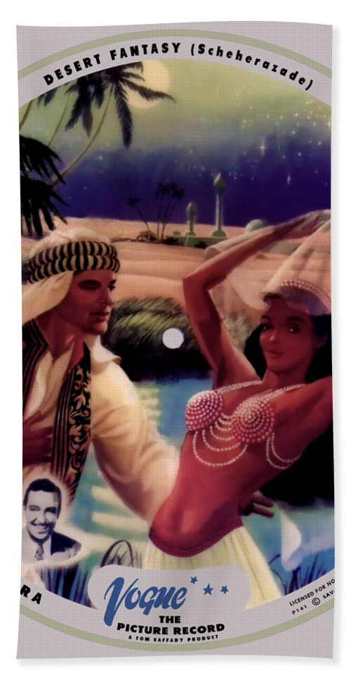 Vogue Picture Record Bath Towel featuring the digital art Vogue Record Art - R 774 - P 141 - Square Version by John Robert Beck