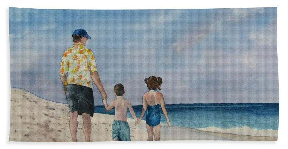 Landscape Bath Sheet featuring the painting Walk on the Beach by Sharon Farber