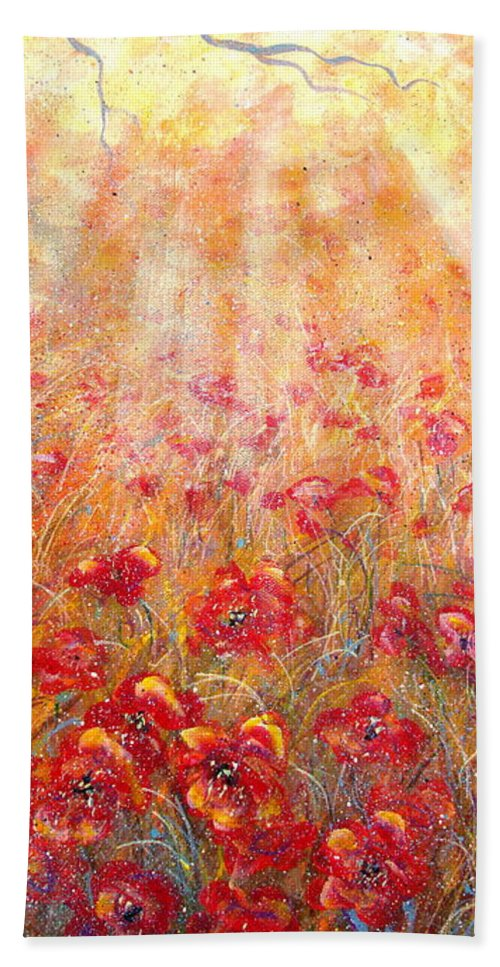 Landscape Bath Sheet featuring the painting Warm Sun Rays by Natalie Holland