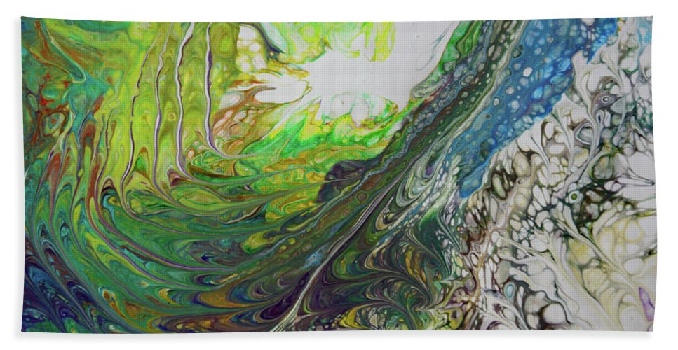 Ocean Hand Towel featuring the painting Wave Action by Joanne Smoley