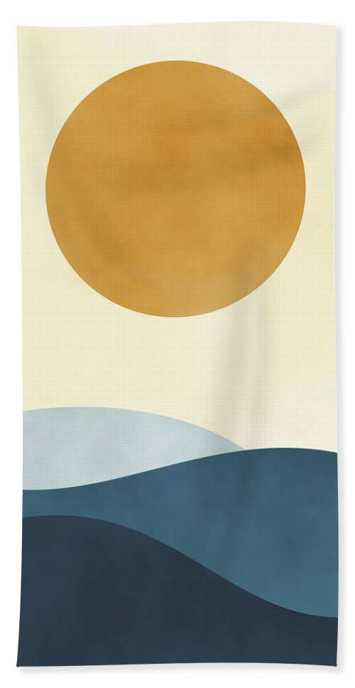 Abstract Hand Towel featuring the painting Waves I by Ink Well