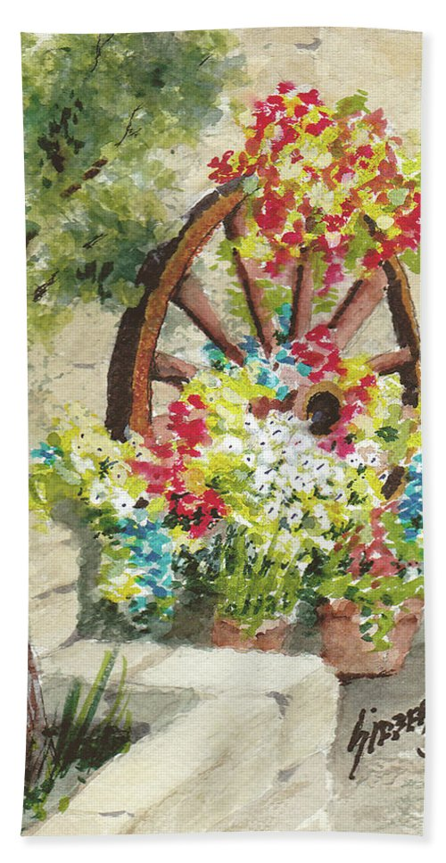 Flowers Hand Towel featuring the painting Wheel Of Flowers by Sam Sidders