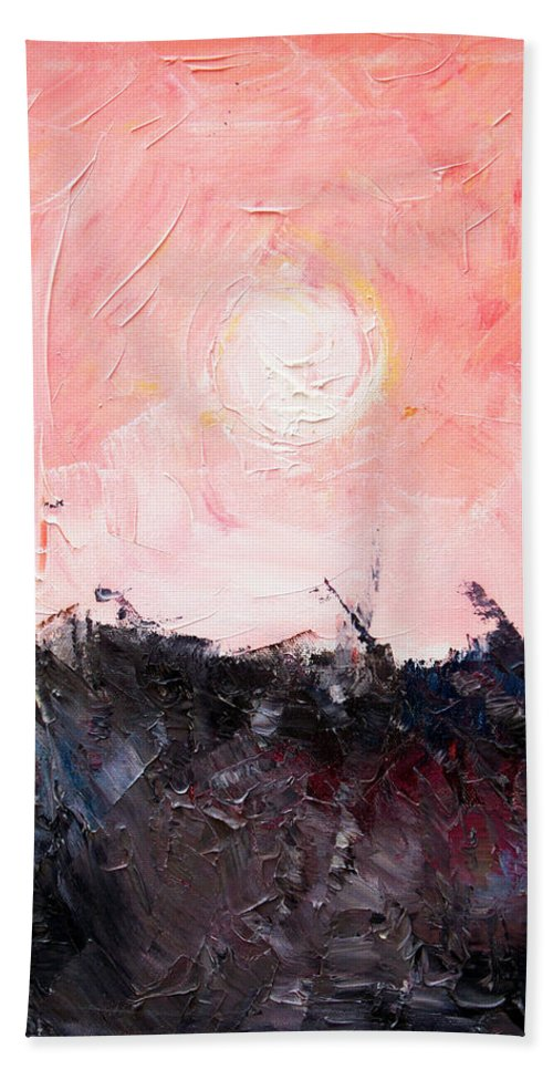 Duck Hand Towel featuring the painting White Sun by Sergey Bezhinets