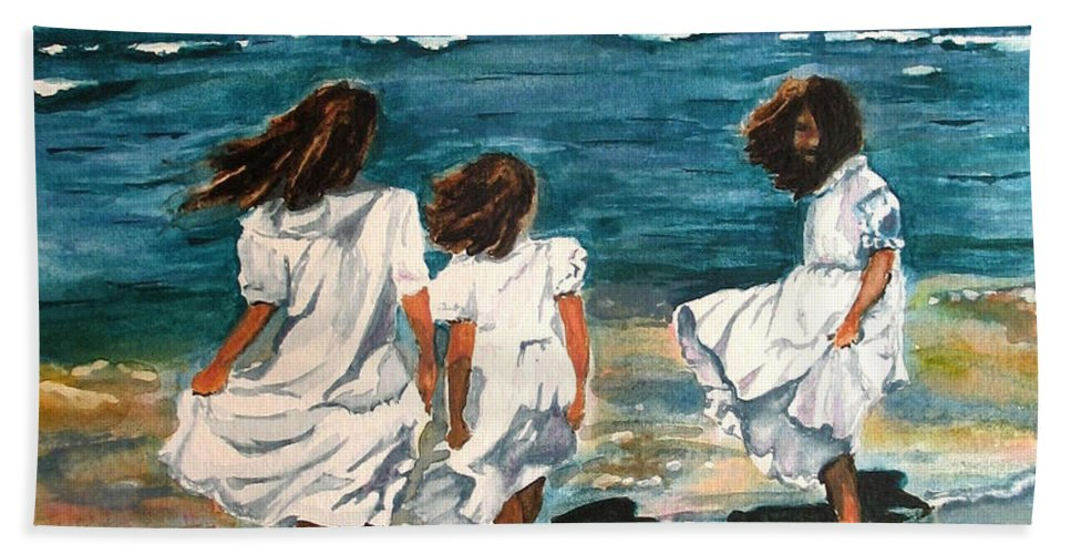 Girls Hand Towel featuring the painting Windy Day by Karen Ilari