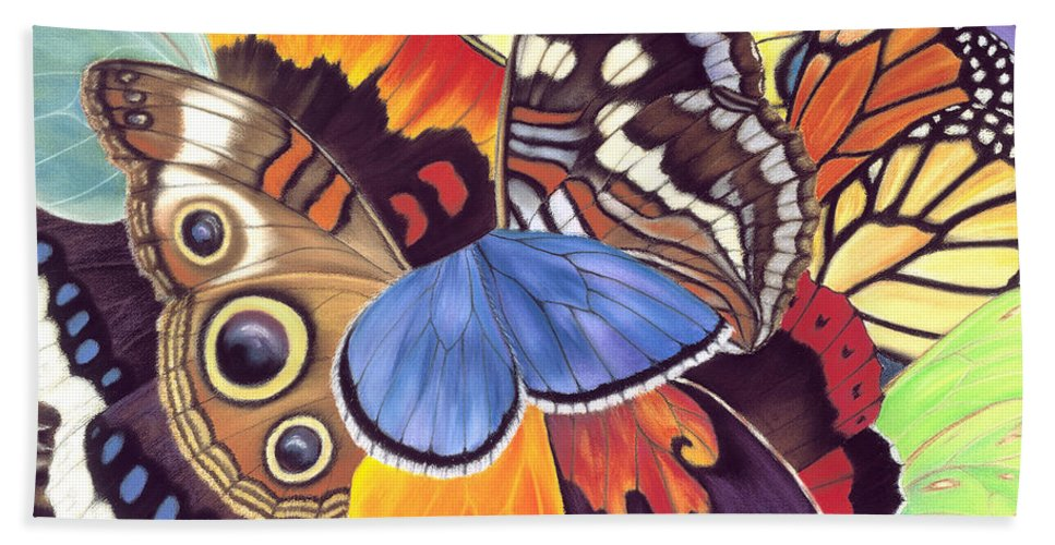Butterflies Bath Sheet featuring the painting Wings Of California by Lucy Arnold