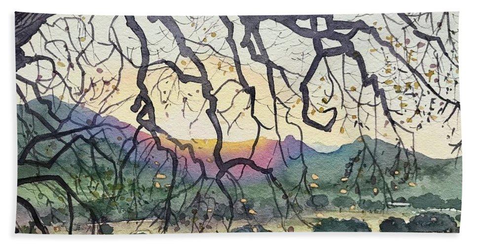 Malibou Lake Bath Towel featuring the painting Winter Malibu Creek by Luisa Millicent