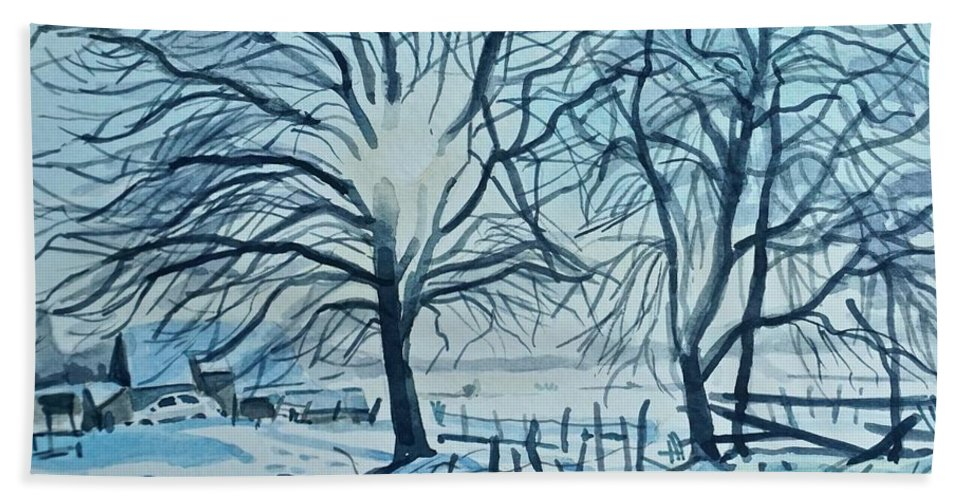 Winter Bath Towel featuring the painting Winter Trees in Snow by Luisa Millicent