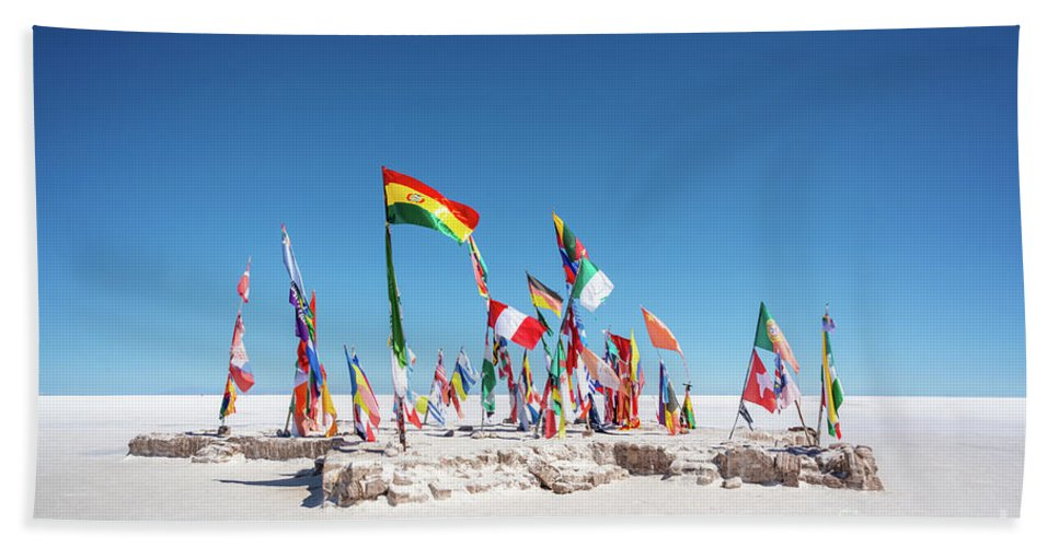 Uyuni Hand Towel featuring the photograph World Flags In Uyuni by Delphimages Photo Creations