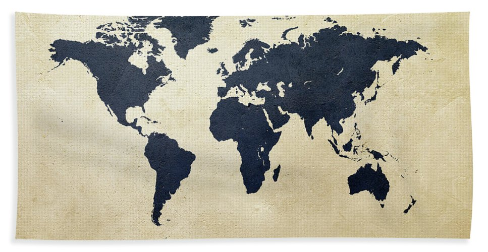 World Map Hand Towel featuring the digital art World Map Navy III by Michael Tompsett