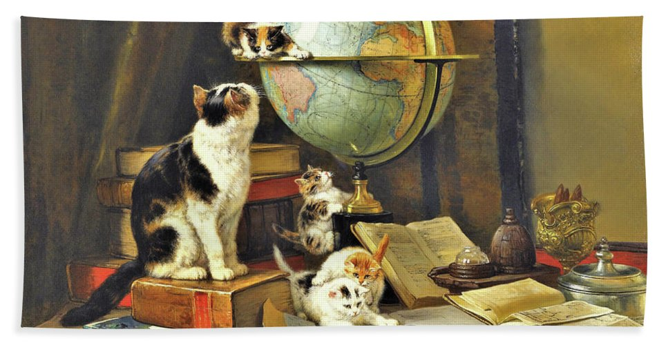 World Traveler Bath Towel featuring the painting World Traveler - Digital Remastered Edition by Henriette Ronner-Knip