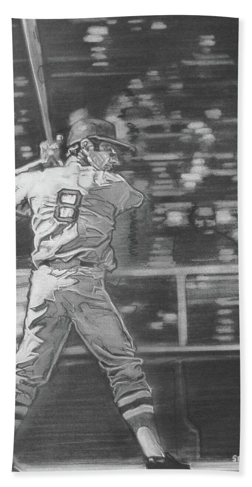 Charcoal On Paper Hand Towel featuring the drawing Yaz - Carl Yastrzemski by Sean Connolly
