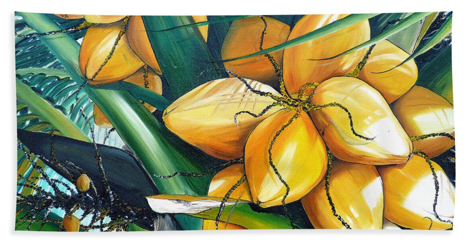 Coconut Painting Botanical Painting  Tropical Painting Caribbean Painting Original Painting Of Yellow Coconuts On The Palm Tree Hand Towel featuring the painting Yellow Coconuts by Karin Dawn Kelshall- Best