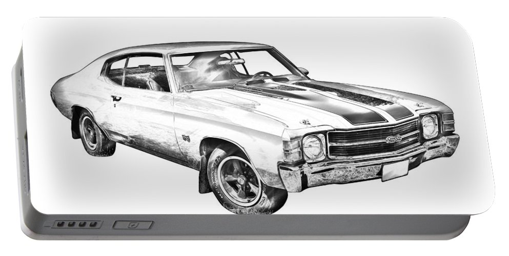 Car; Automobile; 1971; Auto; Vintage; Antique; Classic; Vehicle; Retro; Transportation; Chevrolet Chevelle Ss; Illustration; Drawing; Digital; Line Drawing; Black And White; Car Art; Transport; Chrome; Style; Muscle; American; Hood; Nostalgia; Restored; Chevelle; Chevrolet; Machine; Chevy; Ss; Red; Sport; Usa; Motorcar; Vintage Car; Chevelle Ss; Classic Car; Motor Sport; Motor Vehicle; Power; Striped; Musclecar; Supercar; Sportscar; Muscle Car Portable Battery Charger featuring the photograph 1971 Chevrolet Chevelle Ss Illustration by Keith Webber Jr
