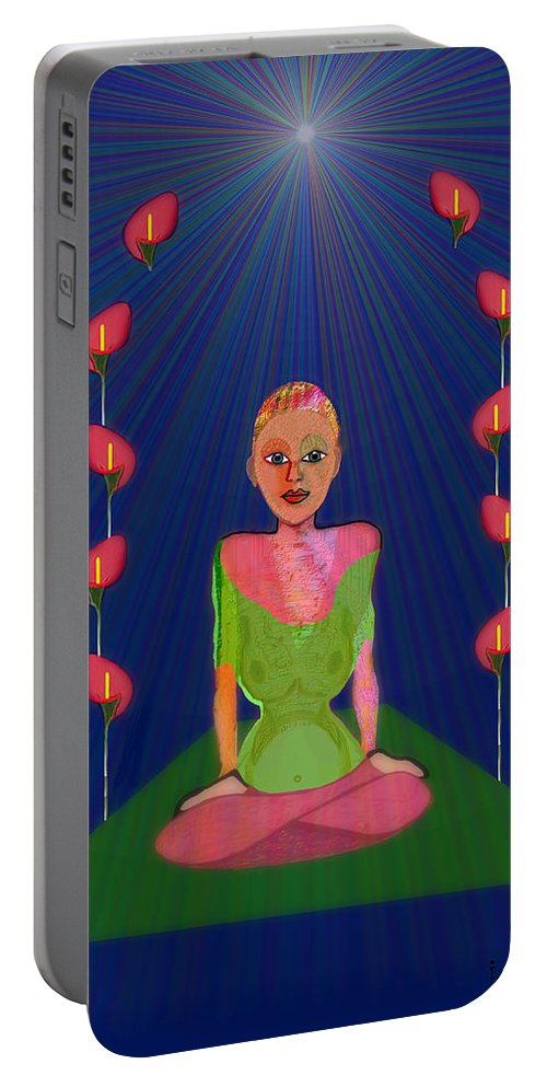 849 Portable Battery Charger featuring the painting 849 - Inner Balance  by Irmgard Schoendorf Welch