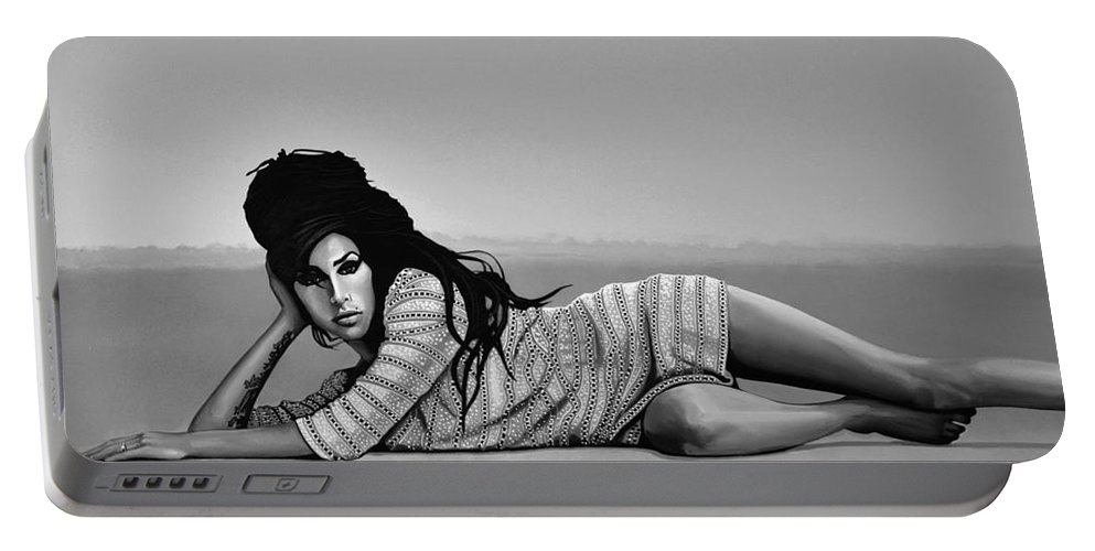 Amy Winehouse Portable Battery Charger featuring the mixed media Amy Winehouse 2 by Meijering Manupix
