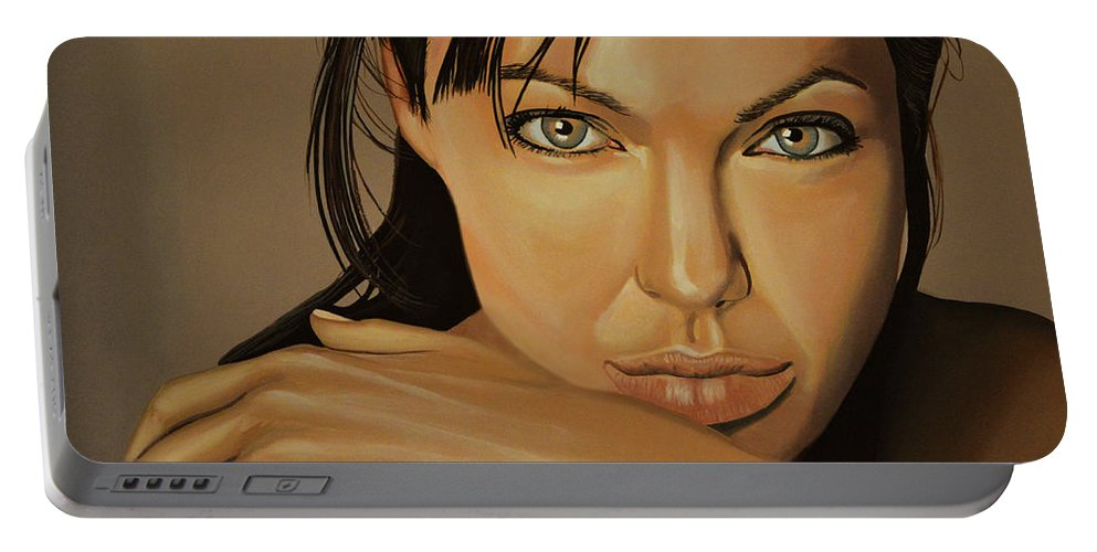 Angelina Jolie Portable Battery Charger featuring the painting Angelina Jolie 2 by Paul Meijering