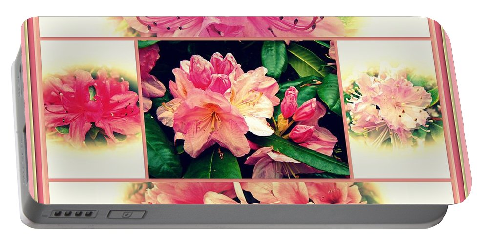 Azaleas Portable Battery Charger featuring the photograph Azaleas 1950's Style by Mother Nature
