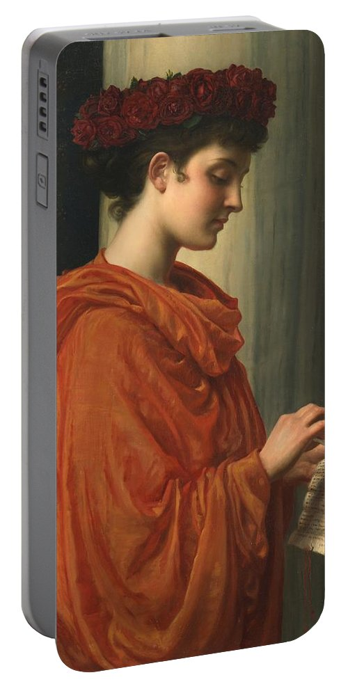 Female; Literature; Poetry; Character; Horace; Odes; Barine; Beauty; Note; Letter; Tearing; Ripping; Profile; Portrait Portable Battery Charger featuring the painting Barine by Sir Edward John Poynter