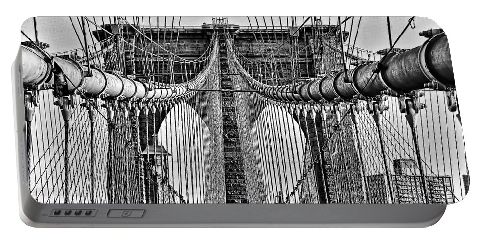 Brooklyn Bridge Portable Battery Charger featuring the photograph Brooklyn Bridge 3 Mono by Steve Purnell