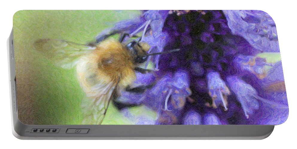 Bumblebee Portable Battery Charger featuring the digital art Bumblebee On Buddleja by Liz Leyden