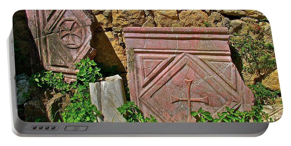 Byzantine Cross In Myra Portable Battery Charger featuring the photograph Byzantine Cross In Myra-turkey by Ruth Hager