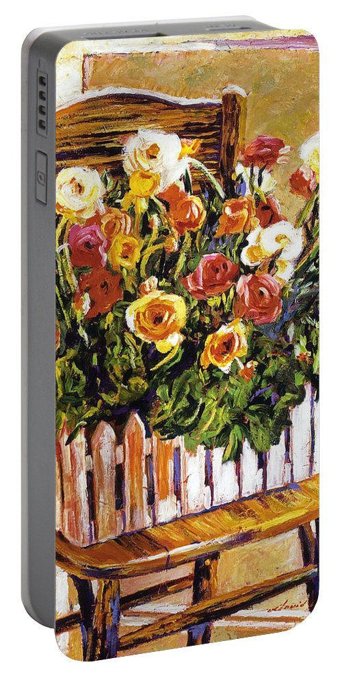 Still Life Portable Battery Charger featuring the painting Chair Of Flowers by David Lloyd Glover