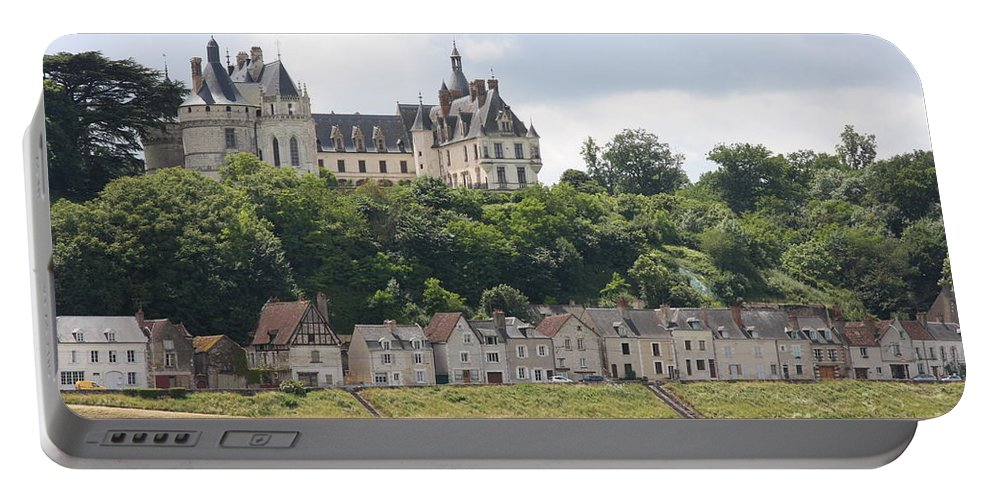 River Portable Battery Charger featuring the photograph Chateau De Chaumont Stands Above The River Loire by Christiane Schulze Art And Photography