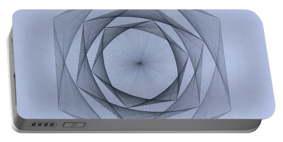 Jason Padgett Portable Battery Charger featuring the drawing  Energy Spiral by Jason Padgett