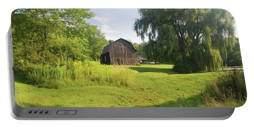 Barn Portable Battery Charger featuring the photograph Evergreen Trails 7523 by Guy Whiteley