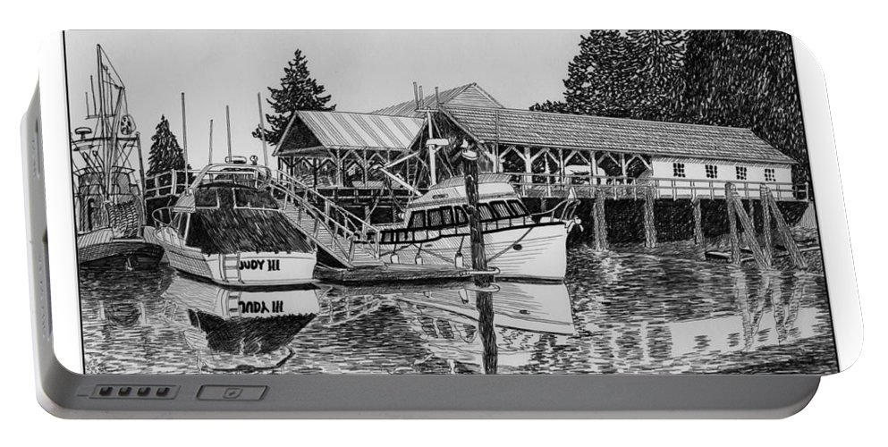 Net Sheds Portable Battery Charger featuring the drawing Net Shed Gig Harbor by Jack Pumphrey