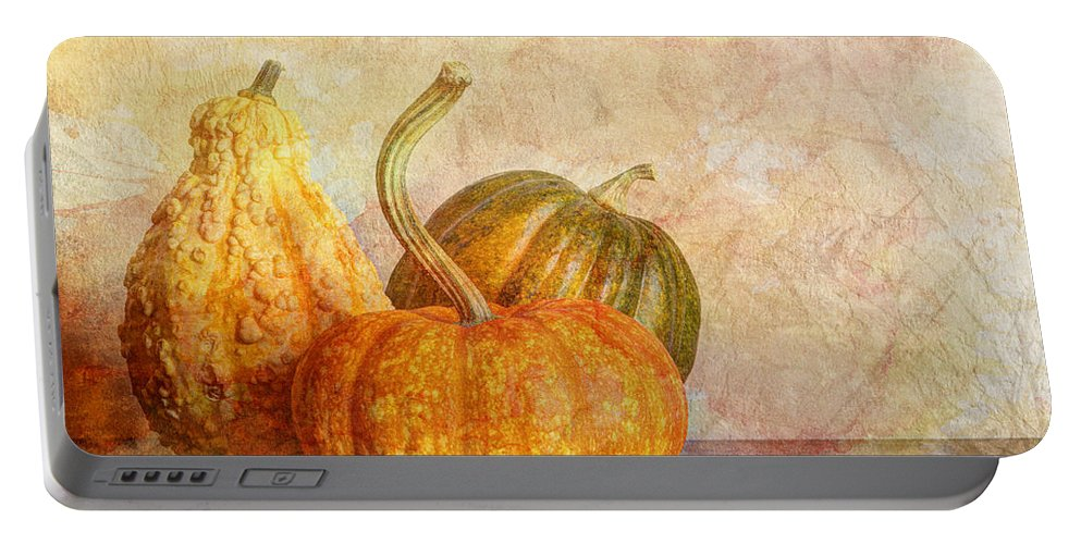 Autumn Portable Battery Charger featuring the photograph Gourd And Pumpkins II by Heidi Smith