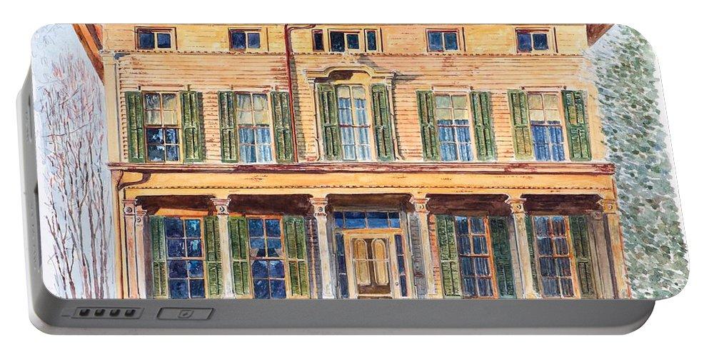 Italianate House Ny Portable Battery Charger featuring the painting Italianate House Ny by Anthony Butera