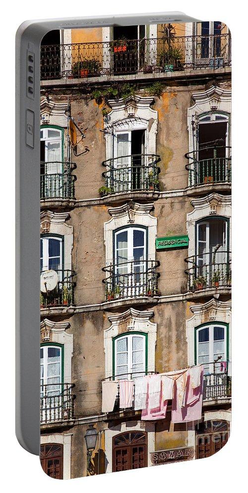 Windows Portable Battery Charger featuring the photograph Lisbon - 18th Century Facade by Jose Elias - Sofia Pereira