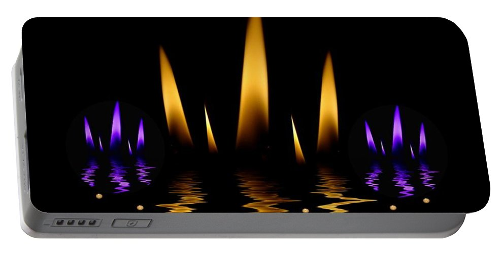 Lotus Portable Battery Charger featuring the mixed media Lotus On Fire In The Dark Night by Pepita Selles