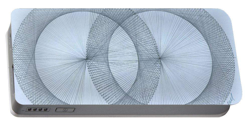 Fractal Portable Battery Charger featuring the drawing Magnetism by Jason Padgett
