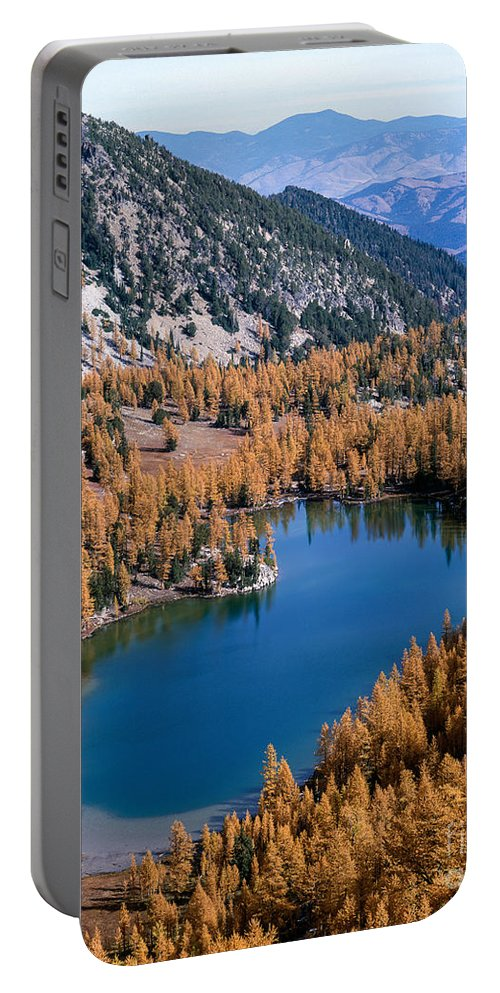 Fall Color Portable Battery Charger featuring the photograph Martin Peak Above Cooney Lake by Tracy Knauer