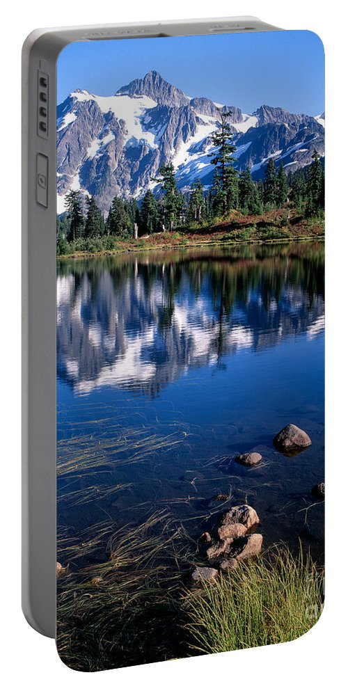 Lake Portable Battery Charger featuring the photograph Mt. Shuksan Reflected In Picture Lake by Tracy Knauer