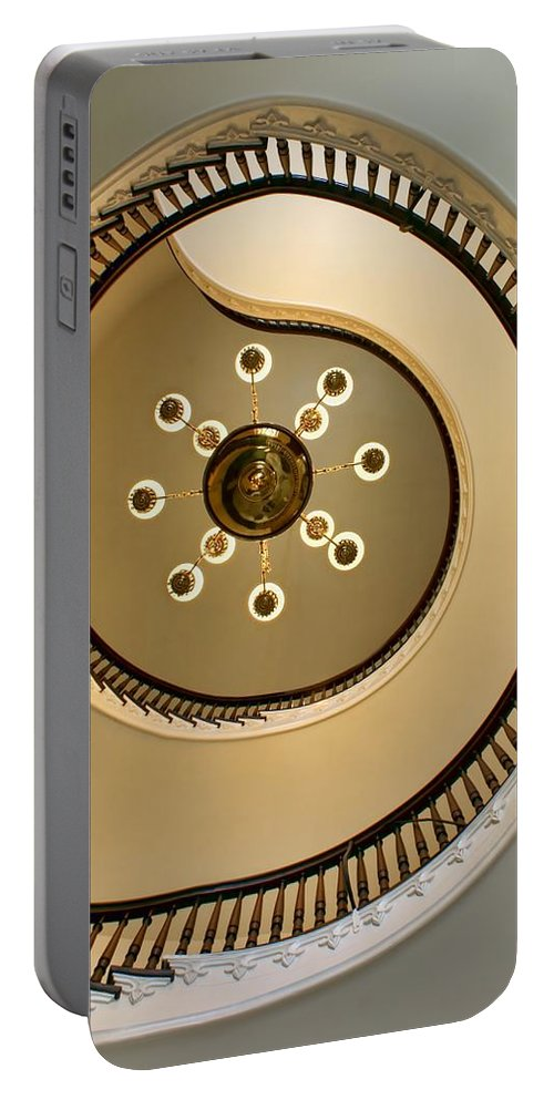 Spiral Staircases Portable Battery Charger featuring the photograph @ by Nikolyn McDonald