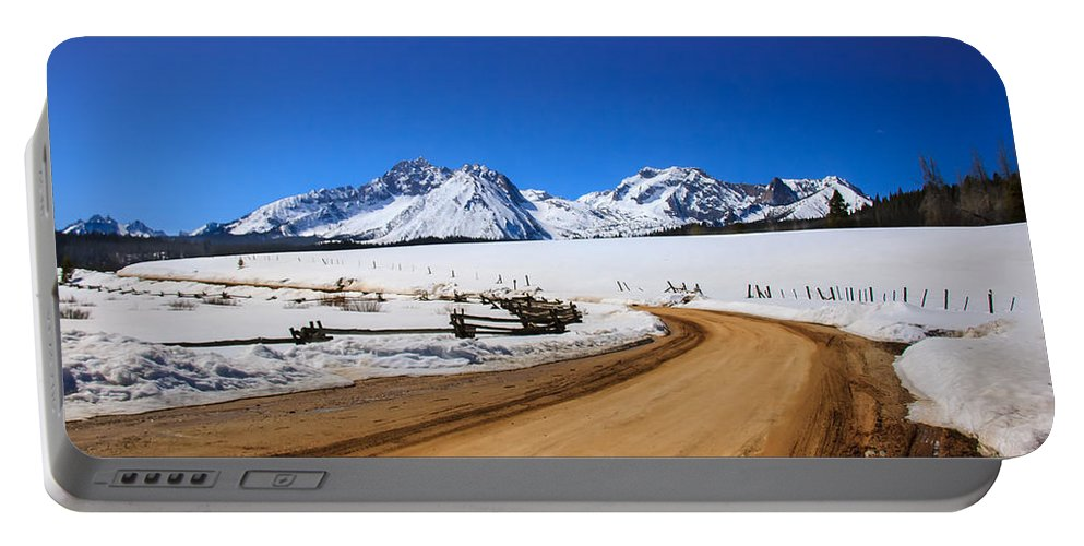 Rocky Mountains Portable Battery Charger featuring the photograph Open Road Tothe Sawtooth Mountains by Robert Bales