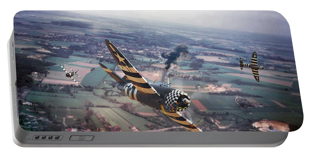 Aircraft Portable Battery Charger featuring the photograph P47- D-day Train Busters by Pat Speirs