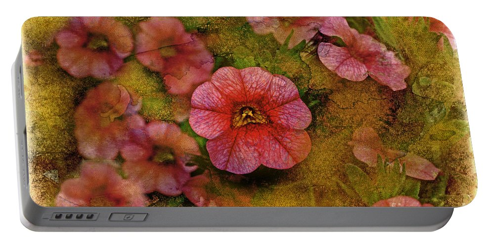Nature Portable Battery Charger featuring the photograph Pink Calibrachoa Photoart II  by Debbie Portwood