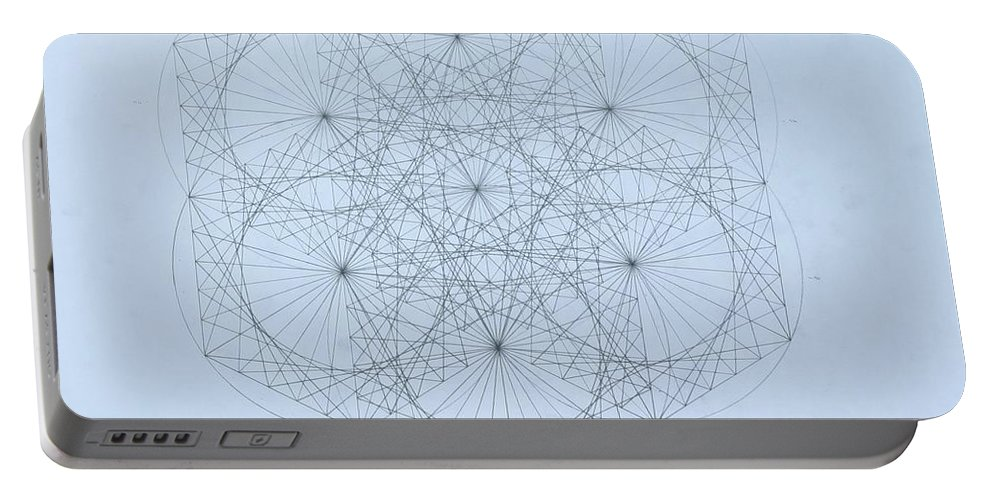 Jason Padgett Portable Battery Charger featuring the drawing Quantum Snowflake by Jason Padgett