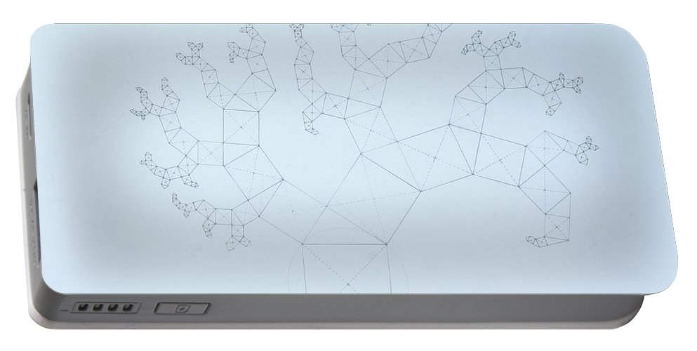 Fractal Tree Portable Battery Charger featuring the drawing Quantum Tree by Jason Padgett