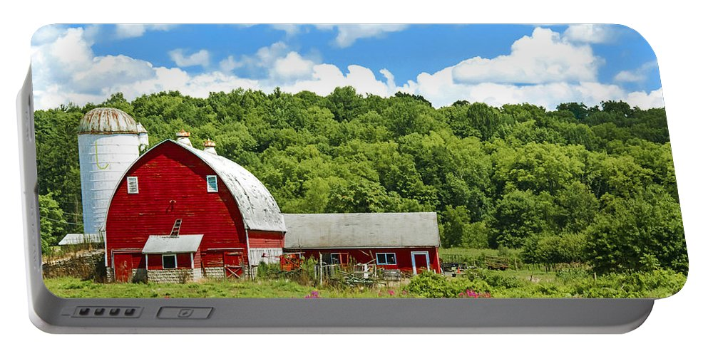Red Barn Portable Battery Charger featuring the photograph Red Farmstead In Summer by Regina Geoghan