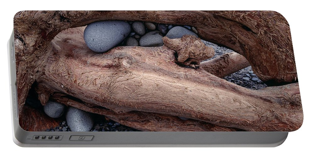 Beach Portable Battery Charger featuring the photograph Rocks In Driftwood by Tracy Knauer