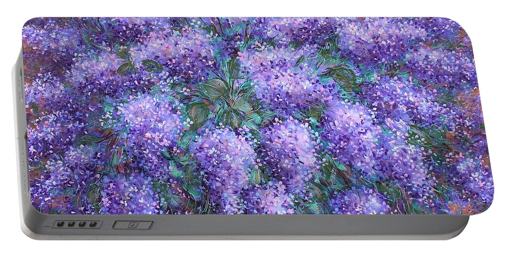 Flowers Portable Battery Charger featuring the painting Scented Lilacs Bouquet by Natalie Holland