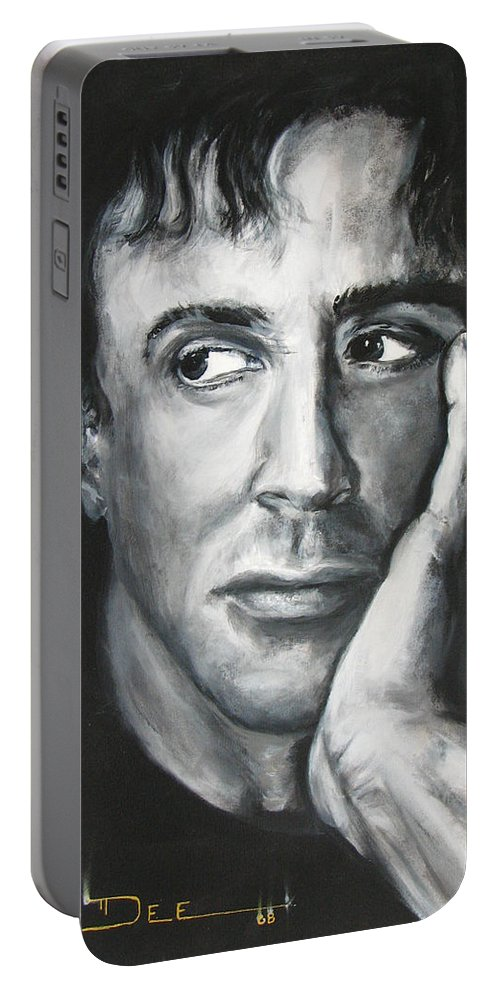 Copland Portable Battery Charger featuring the painting Sylvester Stallone by Eric Dee